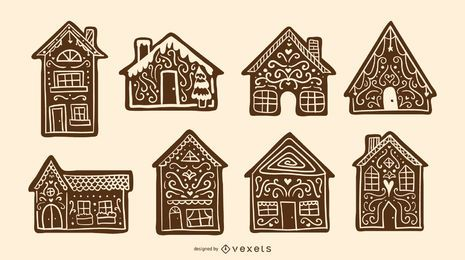 Gingerbread houses silhouette set