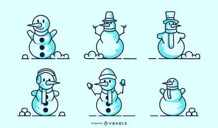Conjunto de vector de trazo de muñecos de nieve