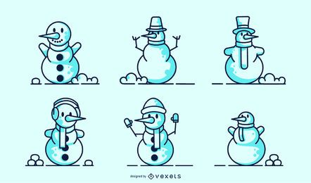Snowmen stroke vector set