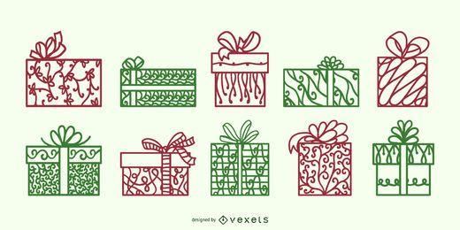 Conjunto de vetores de redemoinho de caixas de presente