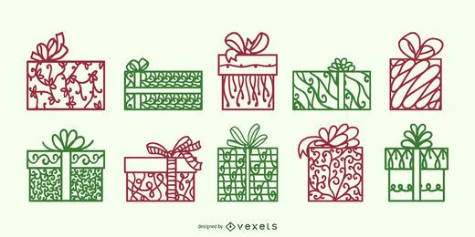 Gift boxes swirl vector set