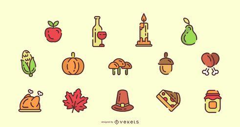 Conjunto de ícones de cores de traço de Ação de Graças
