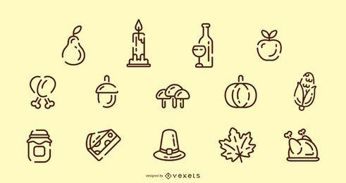 Conjunto de iconos de trazo de acción de gracias