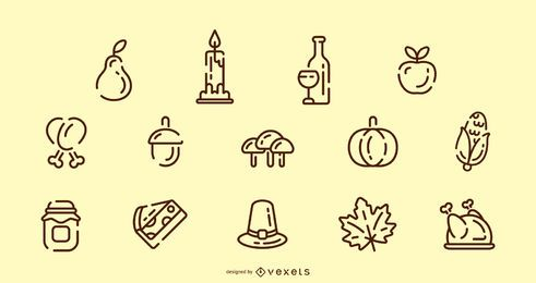 Thanksgiving stroke icon set