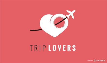 Modelo de design de logotipo de amor para viagens