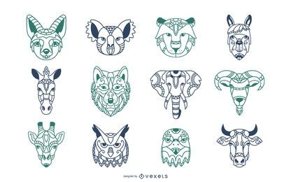 Animal Mandala Heads Illustration Set