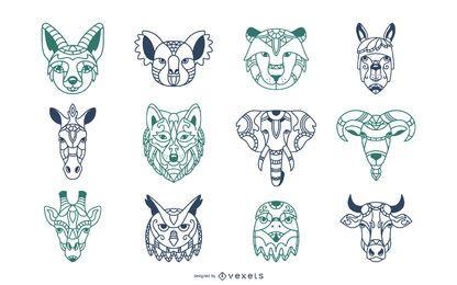 Conjunto de ilustración de cabezas de mandala de animales