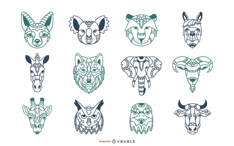 Conjunto de ilustração de cabeças de mandala animal