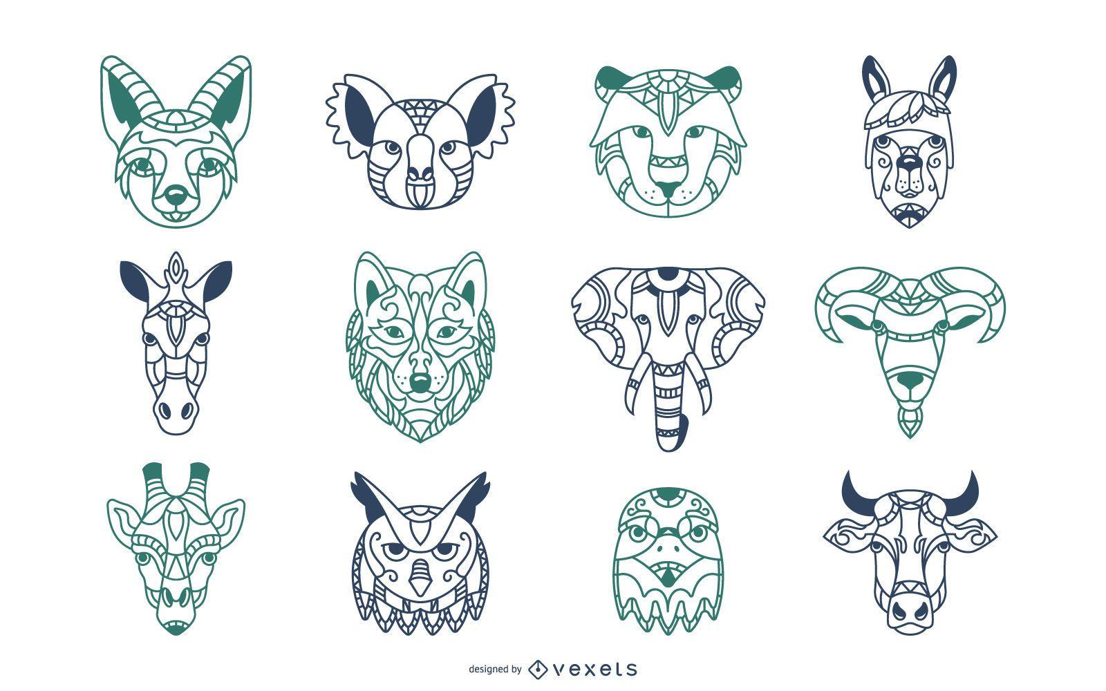 Animal Mandala Heads Illustration Set