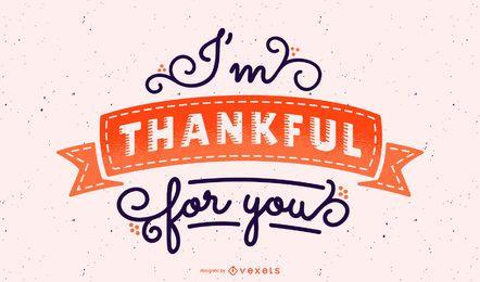 Estou grato por você lettering