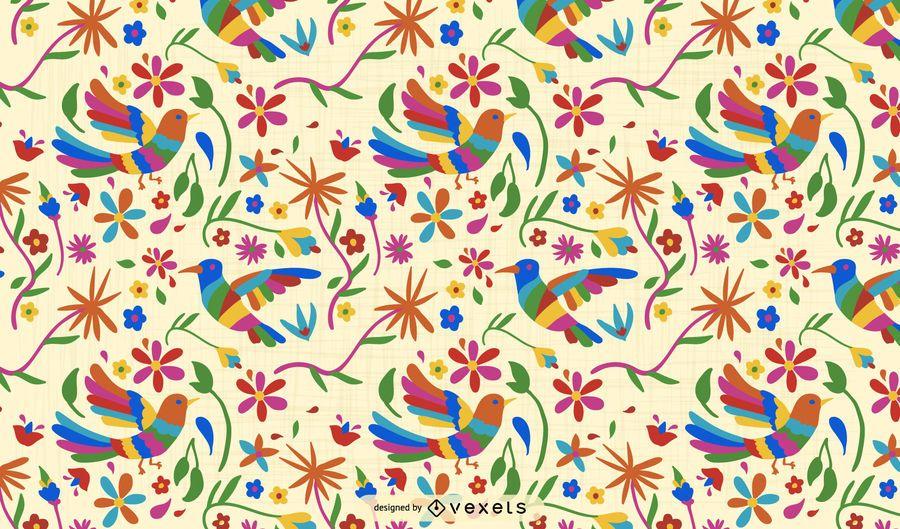 Diseño de patrón de pájaro otomí
