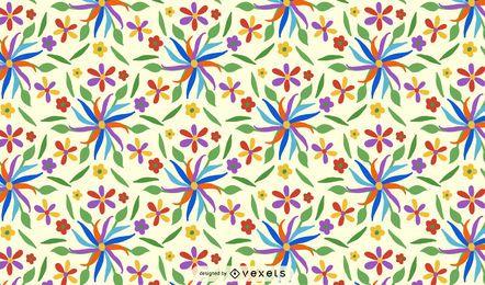 Diseño de patrón de flor otomí