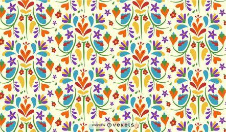 Diseño de patrón de flor mexicana otomí