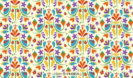 Otomi Mexican Flower Pattern Design