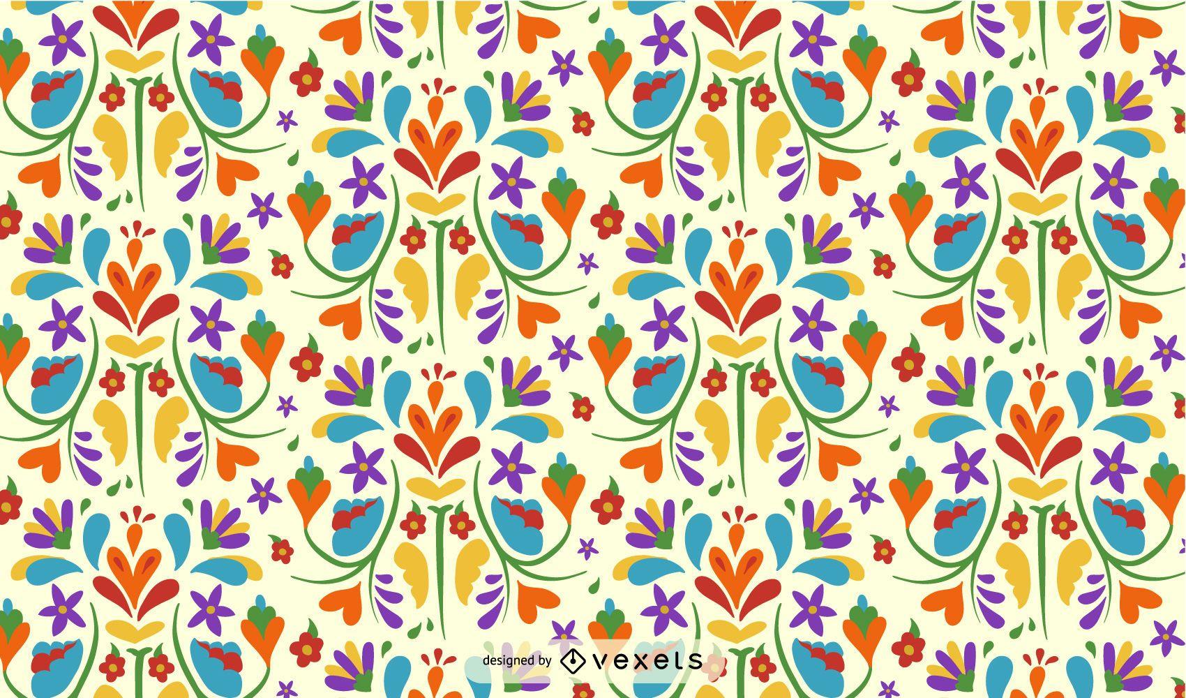 Otomi Mexican Flower Pattern Design