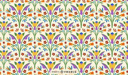 Diseño de patrón de flores de estilo otomí