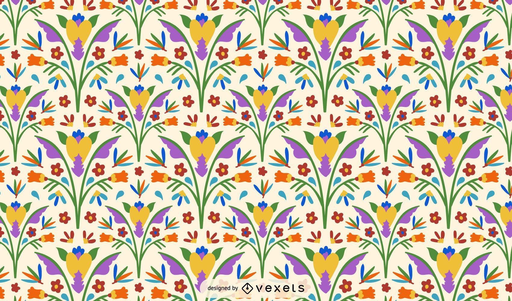 Otomi Style Flower Pattern Design