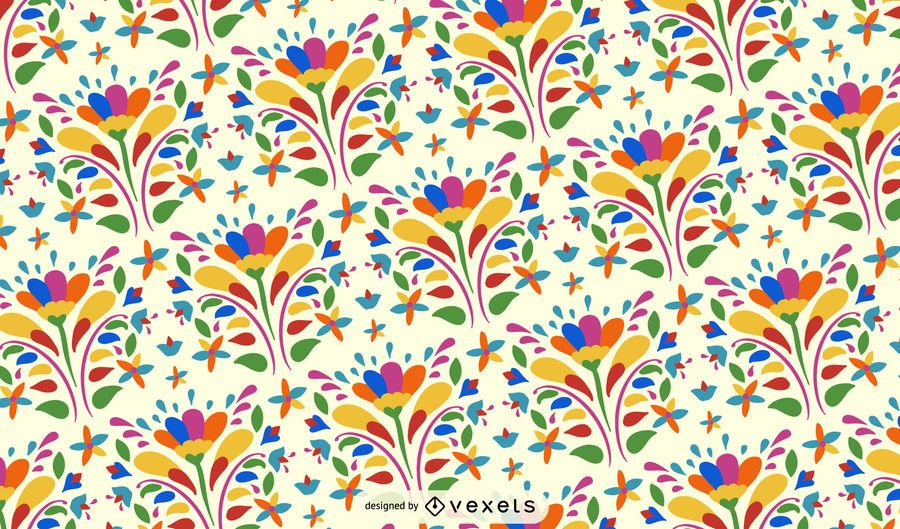 Otomi Flower Pattern Background