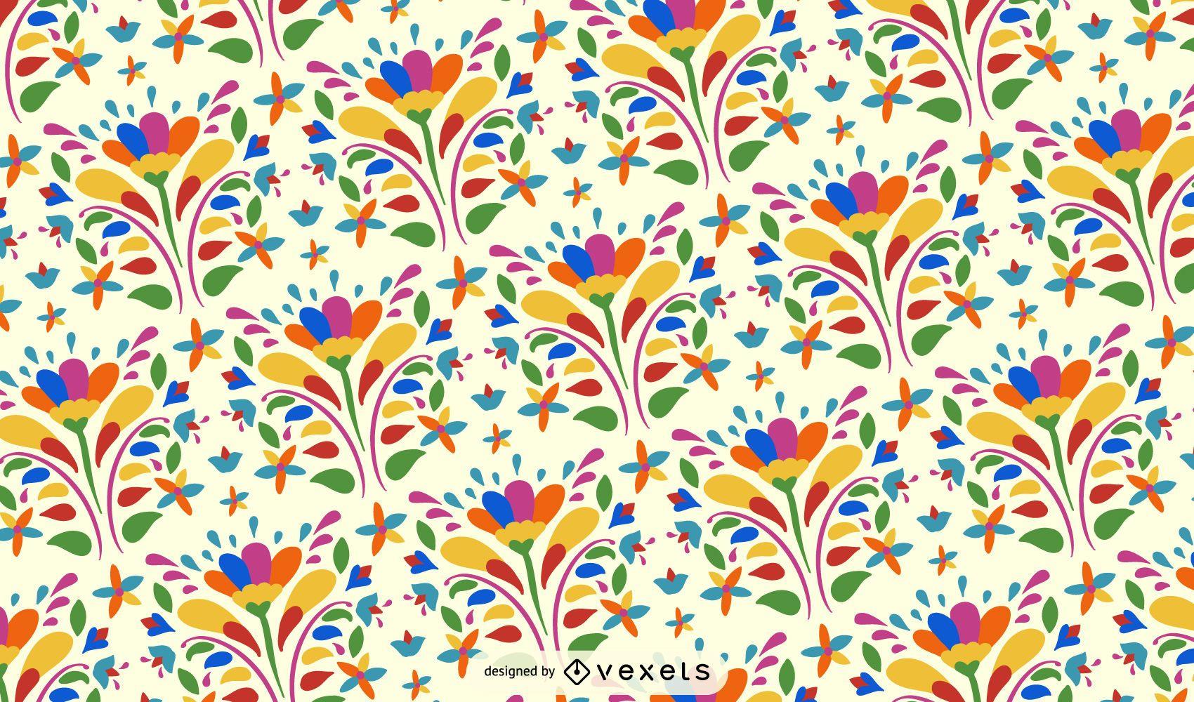 Otomi Flower Pattern Background