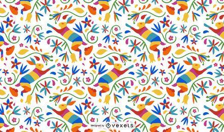 Diseño de patrón de liebre de estilo otomí
