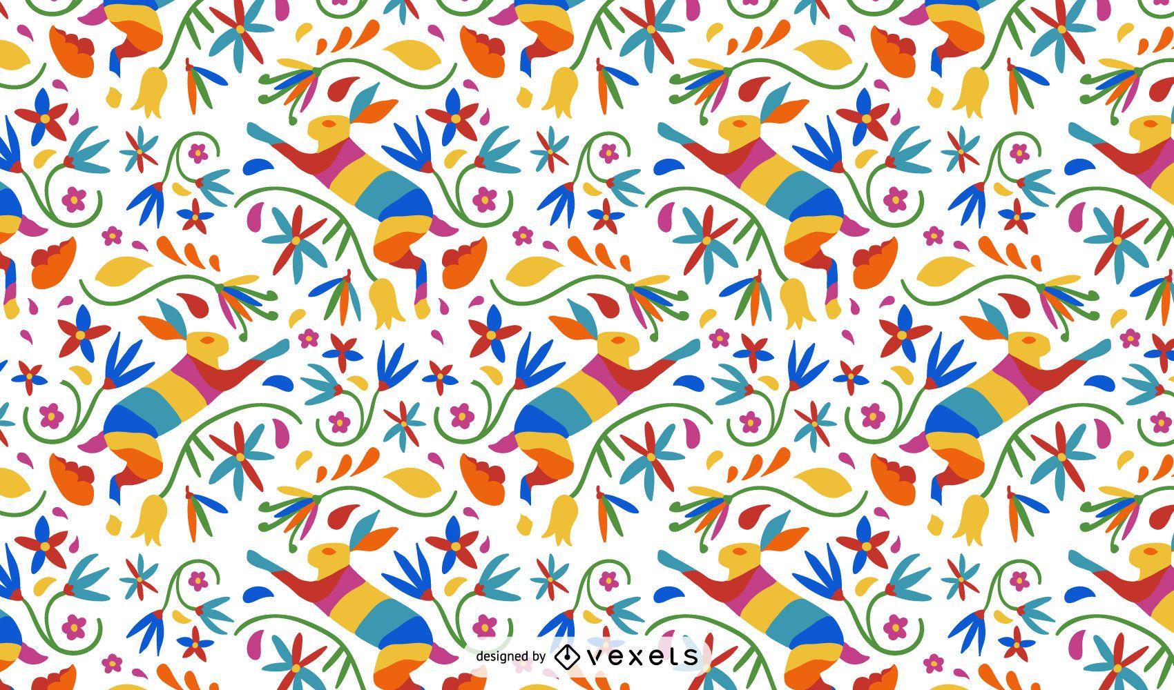Diseño de patrón de liebre estilo otomí