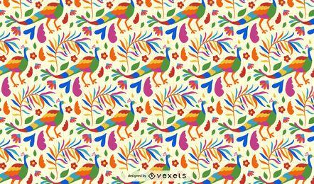 Diseño de patrón de pavo real de estilo otomí