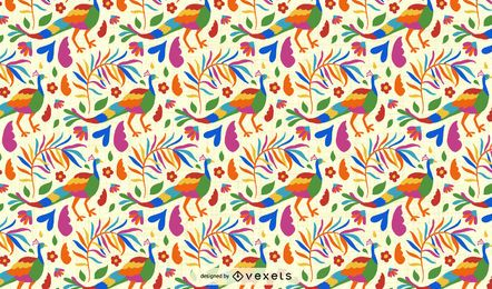 Otomi Style Peacock Pattern Design