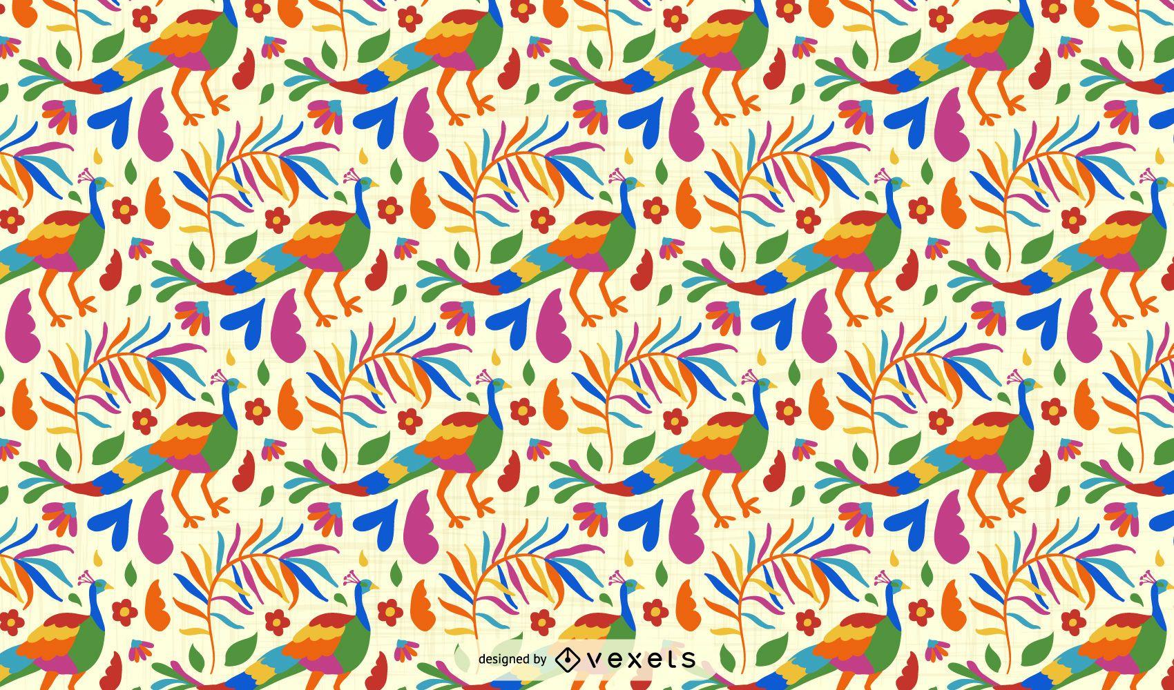 Otomi Style Peacock Pattern Design