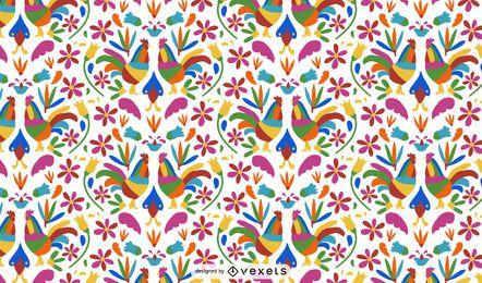 Diseño de patrón de gallo de estilo otomí