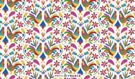 Otomi Style Rooster Pattern Design