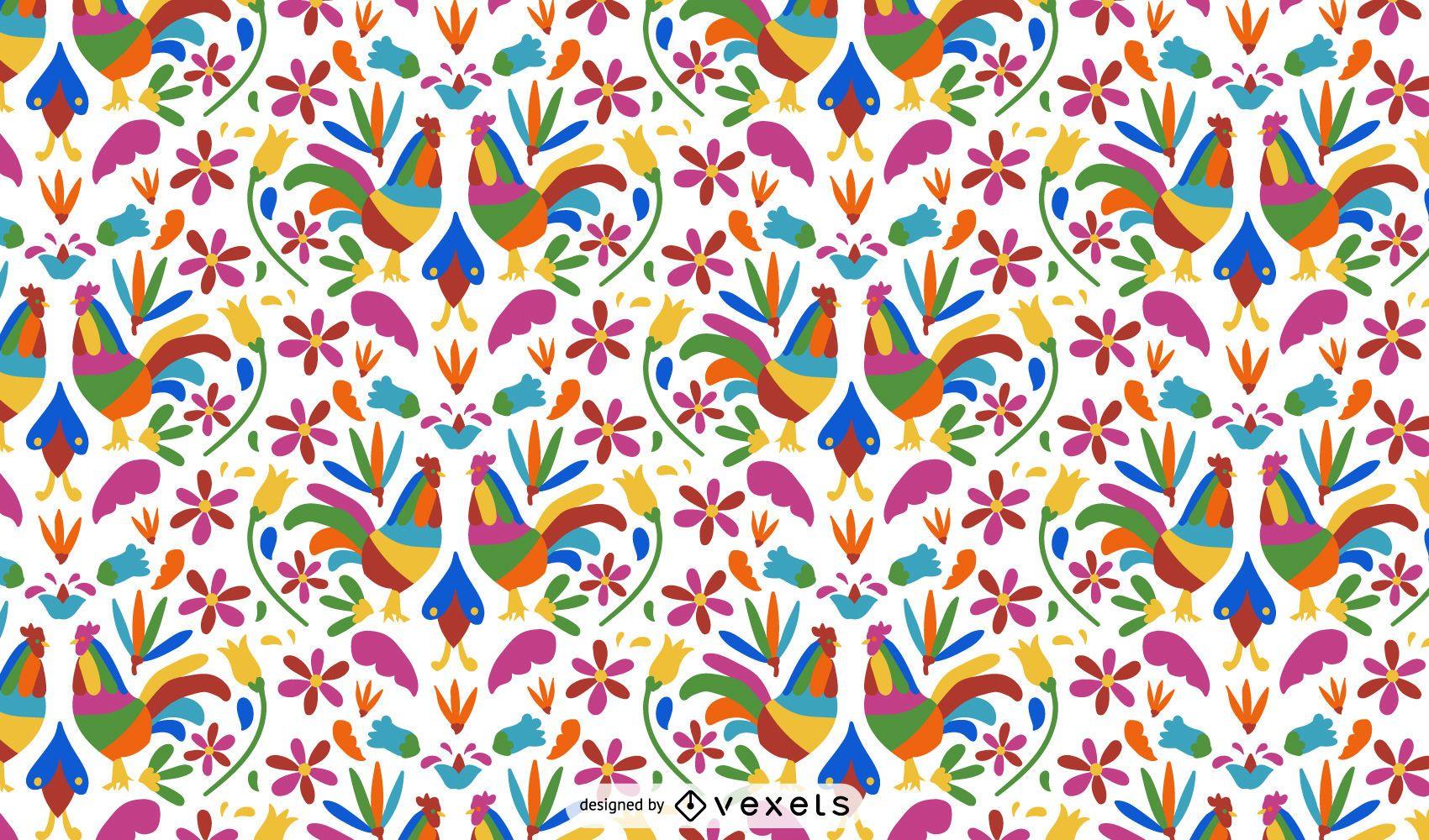 Diseño de patrón de gallo estilo otomí