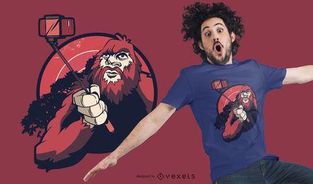 Design de t-shirt selfie bigfoot