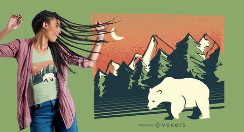 Diseño de camiseta de paisaje de oso polar