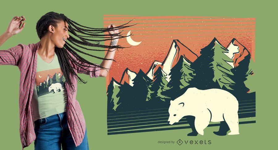 Diseño de camiseta de paisaje de oso polar.