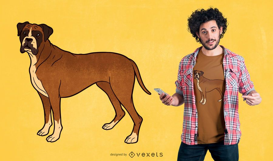 Boxer Dog T Shirt Design Vector