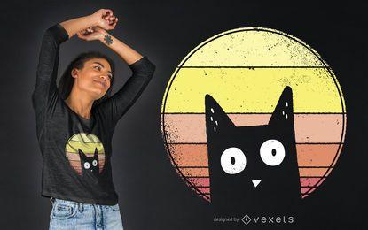 Projeto do t-shirt do gato do por do sol