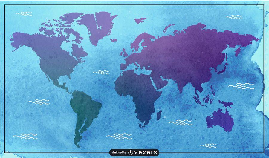 Ilustração do mapa em aquarela