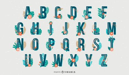 Conjunto de letras de alfabeto de estilo tropical
