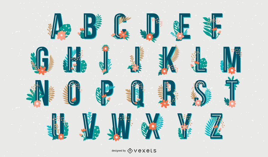 Conjunto de letras del alfabeto de estilo tropical
