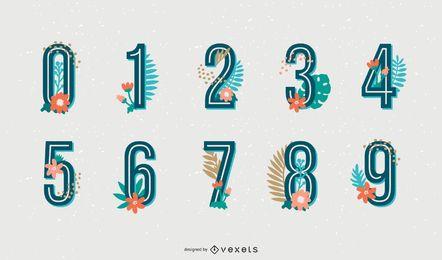 Tropisches Alphabet-Zahlenset