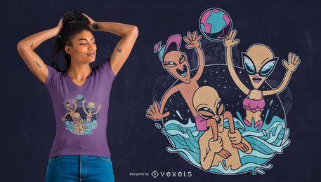 Ausländischer Pool-Party-T-Shirt Entwurf