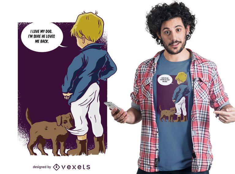 Menino com design de t-shirt para cães