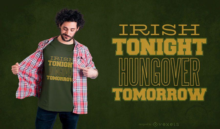 Diseño de camiseta de cita de bebida irlandesa