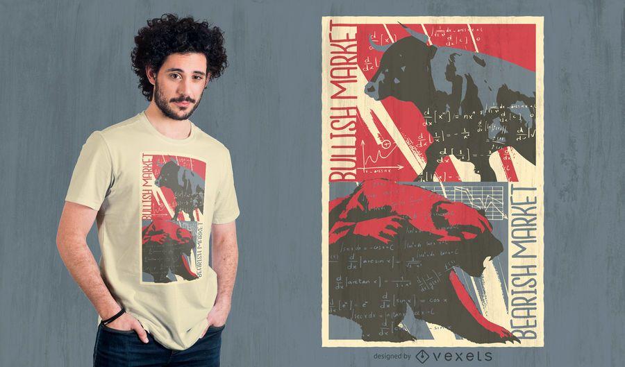 Design de t-shirt do mercado de urso Bull