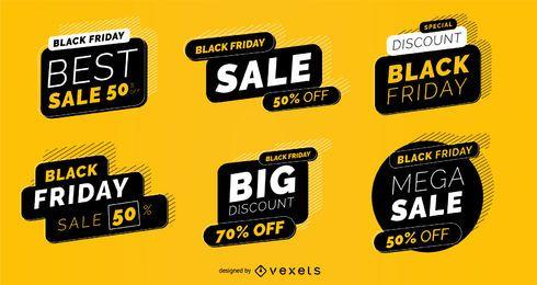 Paquete de etiquetas de venta de viernes negro