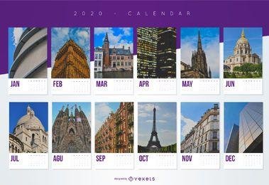 Design do calendário do ano 2020 ponto turístico da cidade