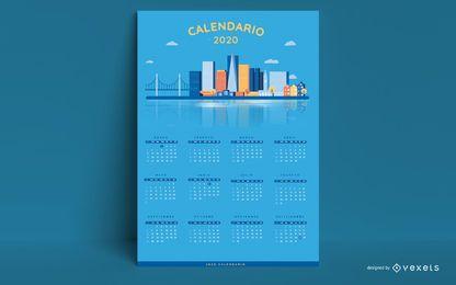 Año 2020 Skyline Calendar Design