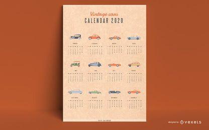 Calendário 2020 carros antigos