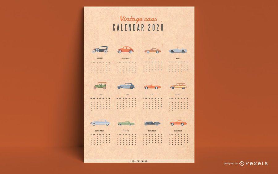 Carros antigos do calendário 2020
