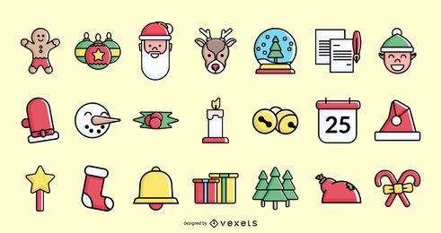 Coleção de ícone colorido de traço de Natal